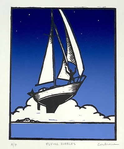 two-color woodcut of a man sailing his boat in the sky over the ocean