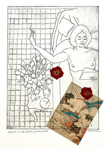Woman in Her Bath, etching with Chine Collé,