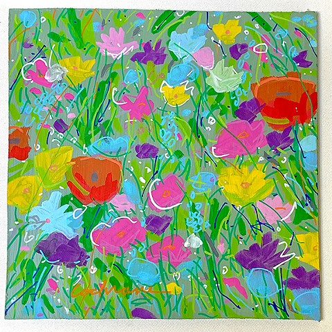 Wildflowers painted with acrylic paint on MDF panel