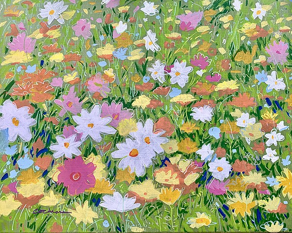 "A 20"" X 16"" acrylic painting of a field of wildflowers including Poppies, Dahlias, Daisies and Cornflowers."