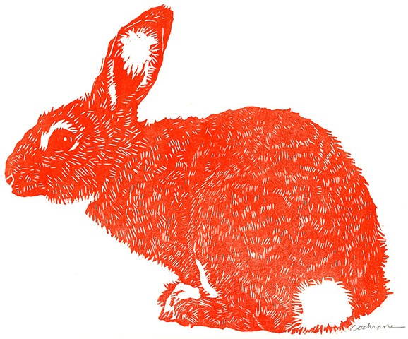 linoleum block print of a rabbit