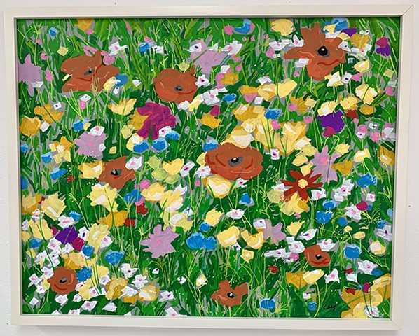 Wildflowers painted with acrylic paint on stretched canvas framed in white, wood gallery frame. SOLD