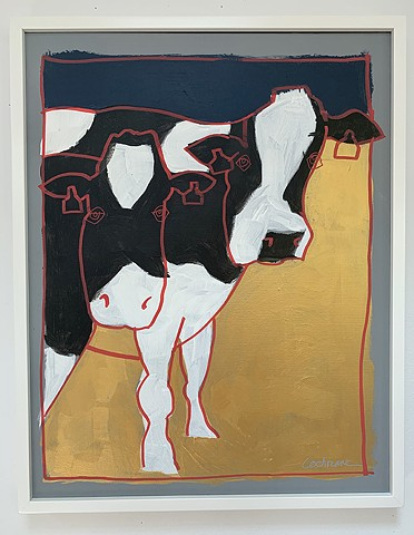 Holstein Cows painted with acrylic paint on stretched canvas framed in white, wood gallery frame.