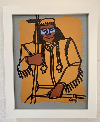 "Chief 2, acrylic on canvas board, 8""x10"", framed white wood, gallery frame"
