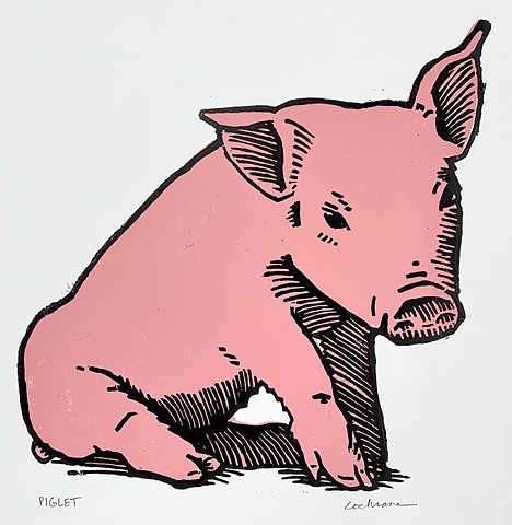 "2-color ""Piglet"" woodcut in pink and black."