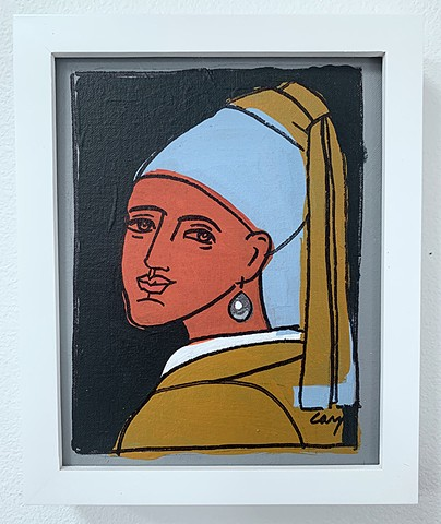"Girl with a Pearl Earring, 8""x10"" acrylic on canvas board. Signed lower right. Framed in white wood, gallery frame."