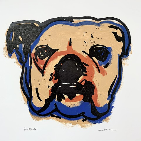 English Bulldog woodcut over red, yellow ochre and blue acrylic paint
