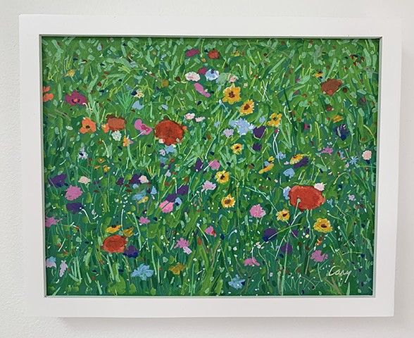 Wildflowers painted with acrylic paint on stretched canvas framed in white, wood gallery frame