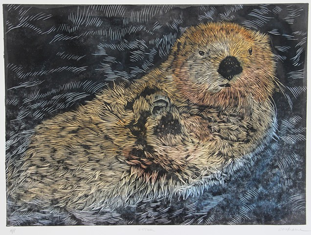 """Otter"" woodcut with watercolor"