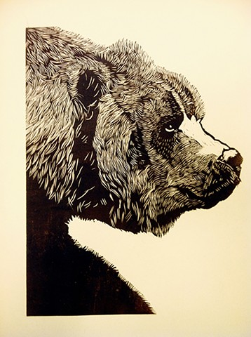 Wood block print of a Kodiak bear