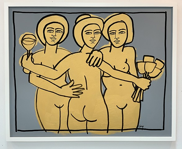 The Three Graces painted with gold, black and gray acrylic paint on stretched canvas framed in white, wood gallery frame. SOLD