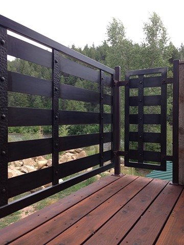 Modern forged/ fabricated steel custom metal railing