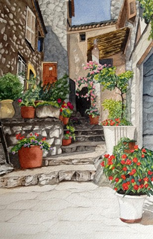 Steps in Taormina, Sicily in watercolor