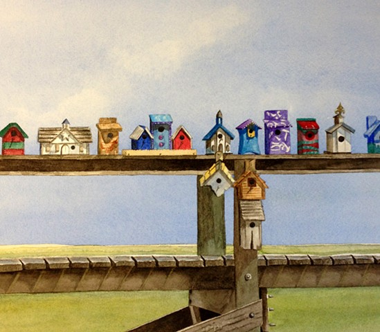 Bird houses along a pier near the beach in watercolor
