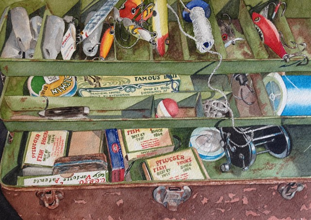 Hook, Line, and Sinker Tackle Box watercolor