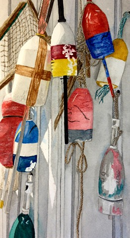 Buoys on weathered shed in watercolor