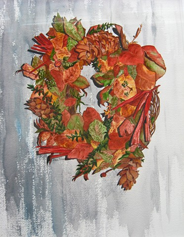 Fall wreath on barnboard in watercolor