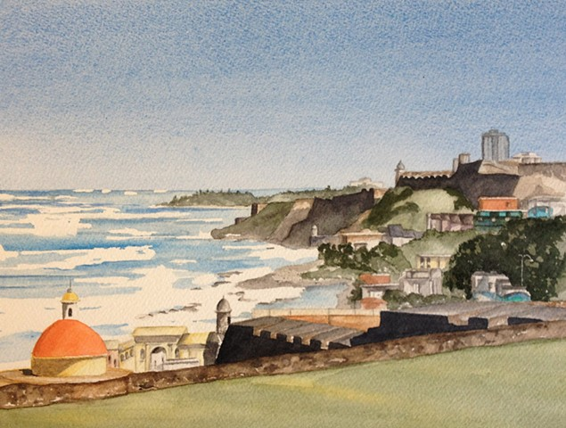 From the Fort at Old San Juan watercolor