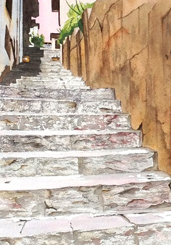 Taormina, Sicily steps in watercolor