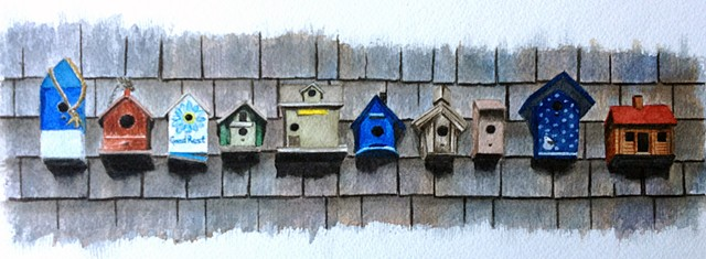 Bird houses on weathered shingles in watercolor