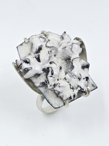 abstract enameled cocktail ring