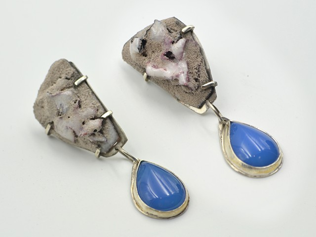 """Graphite"" with Blue Chalcedony Earring"