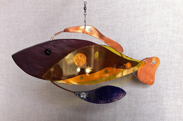 Hanging fish sculpture, fish mobile