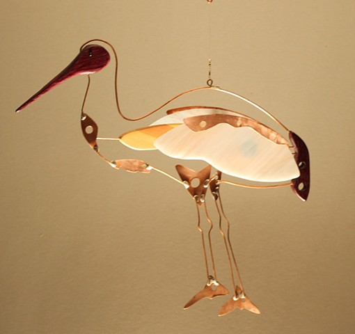 Hanging crane sculpture.