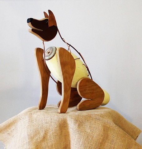 Bowling Pin Dog Sculpture