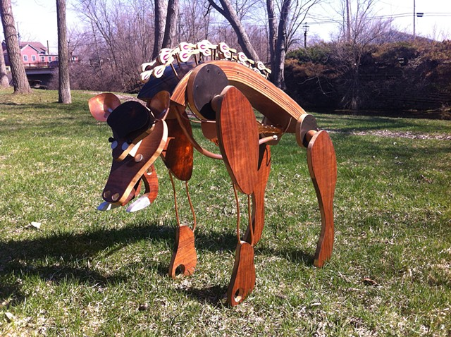 Piano Boar, upcycled boar sculpture