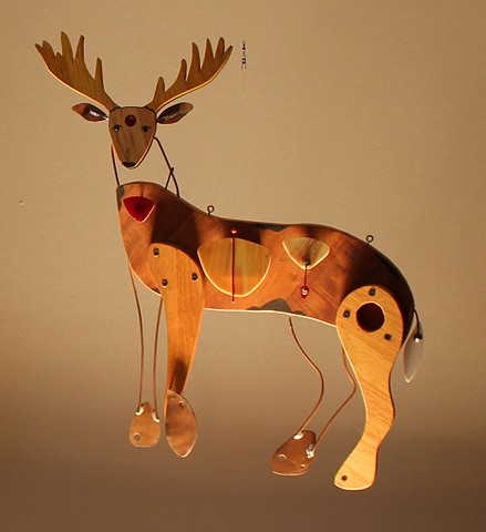 Hanging deer sculpture