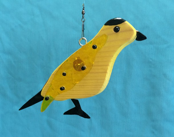 Hanging Goldfinch Sculpture
