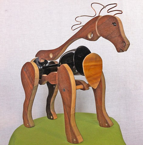 Horse sculpture, Upcycled horse, wooden horse