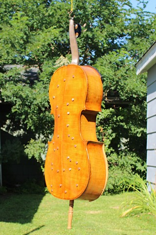 Upcycled Cello Sculpture