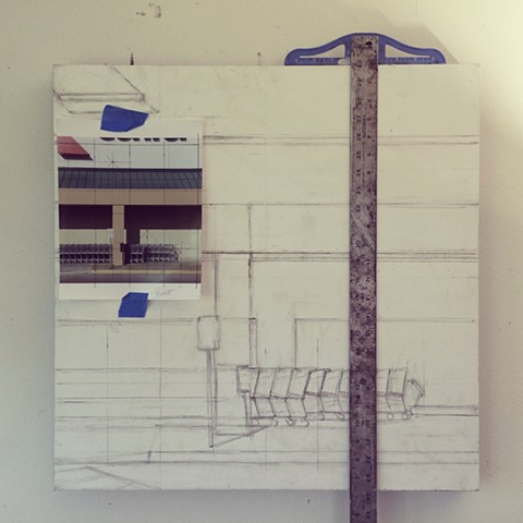 Carts, in progress, underdrawing