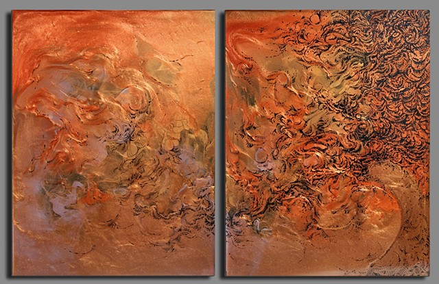 untitled bronze diptych