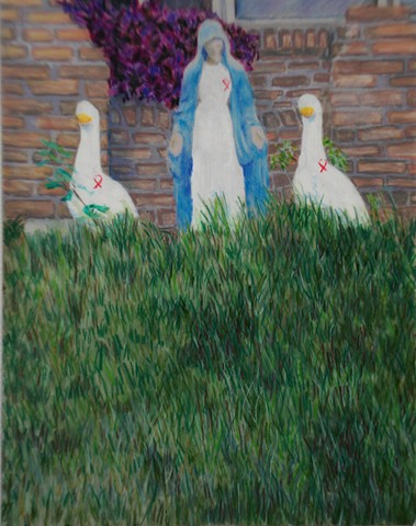 Mary and Geese (wearing red AIDS/HIV awareness ribbons)