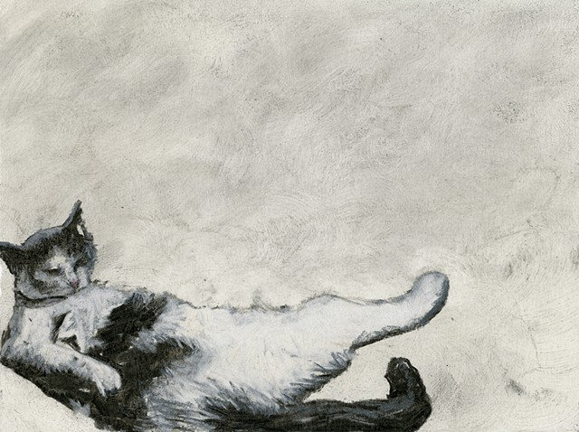 CAT BATH III (reclining female)