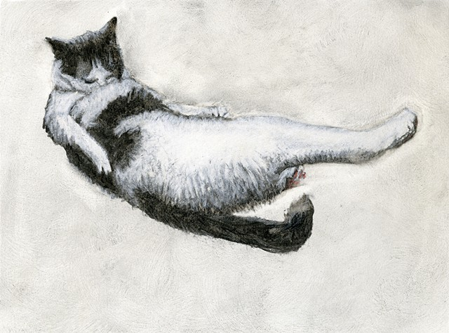 cat bath charcoal drawing reclining figure grooming kitty