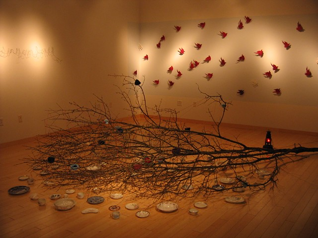 tree, installation, felting, nests, china plates, sound, fairytales