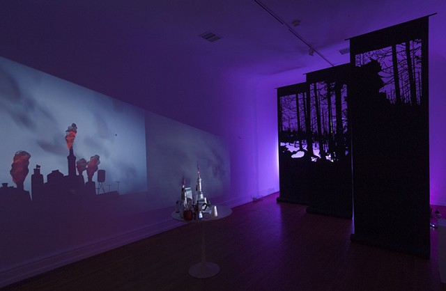 installation art, found objects,  shadow play,  video projection, mapped video, silhouette, roofing paper, forest
