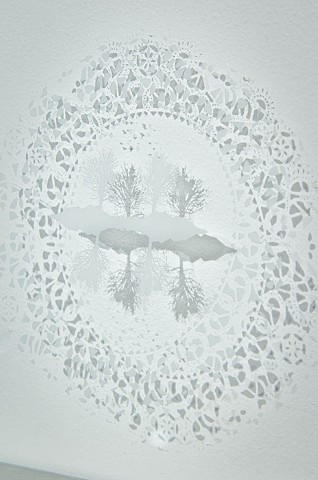 etched glass, sandblasting, doilie, tree imagery, birds