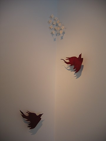 dyed paper, birds, installation