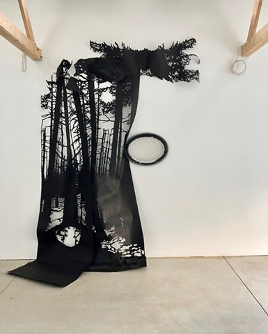 paper cutting, kiln cast glass, installation, environmental art