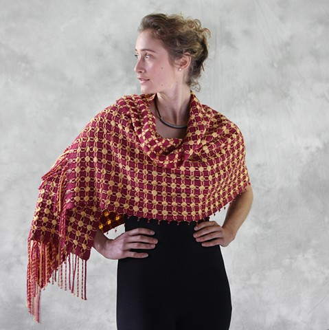 Handwoven, hand-dyed shawl