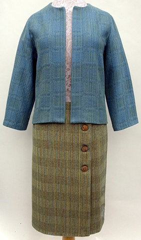 Handwoven in two different twill block patterns. Garment design and construction by Karen.
