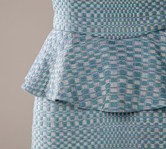 Detail of handwoven fabric for Monk's Belt Peplum Dress