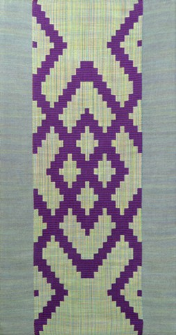 Handwoven Turned Beiderwand wall hanging with twill borders.
