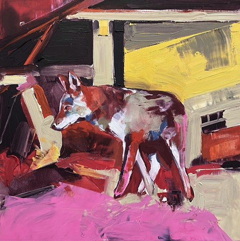 Untitled (coyote study in pink & yellow)