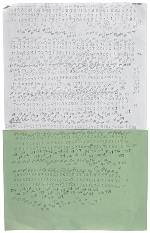 Untitled (numbers on green and white paper)